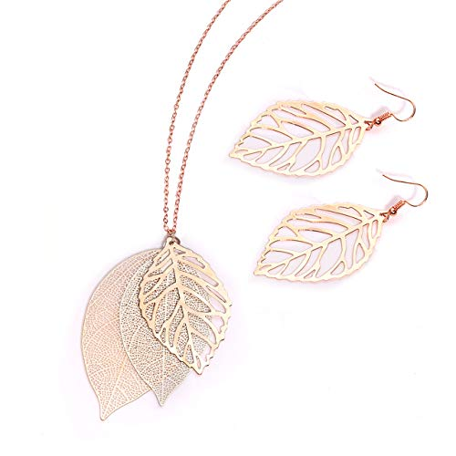 (NVENF Leaf Necklaces and Earrings Jewelry Set for Women Large Leaves Veins Pendant Tiered Necklaces and Modern Woodland Drop Stud Earring Fall Spring Theme Gift (A Rose Gold & Silver))