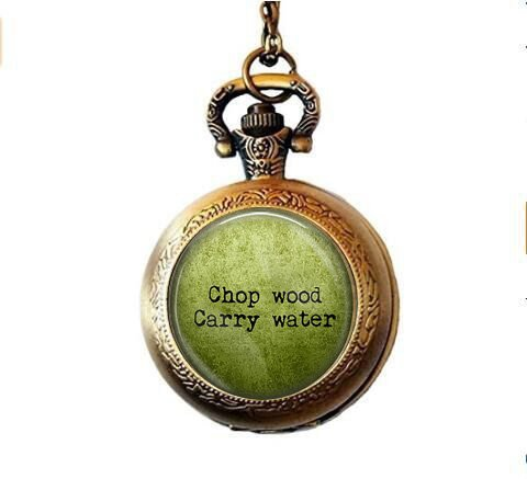 stap Zen QuoteChop Wood Carry Water Pendant Necklace - Buddha Quote Jewelry - Spiritual Jewelry - Buddha Pocket Watch Necklace - Meaning of Life ()