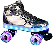 Unisex Roller Skates, Double Row Light Up Quad Skates Shoes Flashing Wheels for Adults Youth Women Men Boys an