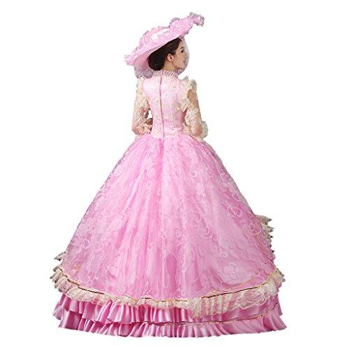 Gothic Prinzessin Maskerade viktorianischen Damen Kleid Cosplayitem Palace Kostüm Kleid Mädchen Königin Abendkleid Lagerter Rosa ZTwtq