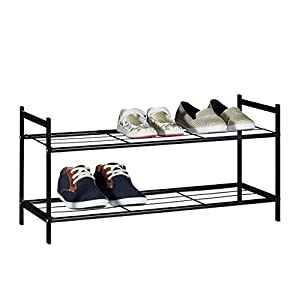 relaxdays shoe rack sandra with 2 shelves small metal shoe storage unit size 335 x 695 x 26 cm for 6 pairs of shoes with handles black metal