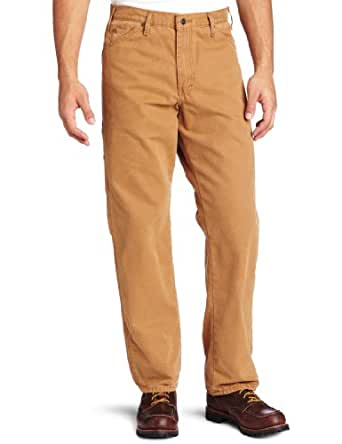 Dickies Men's Relaxed Fit Sanded Duck Carpenter Jean, Brown Duck, 30x30