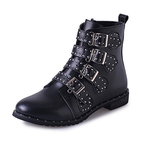 Btrada Womens Stylish Round Toe Studded Rivets Belt Elastic Low Heel Ankle Boots Black Boots