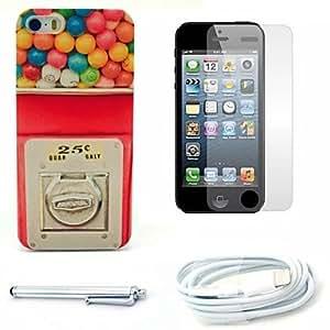ZCL-Caso duro del patrón máquina de dulces y protector de pantalla y lápiz óptico y el cable para el iphone 5 / 5s