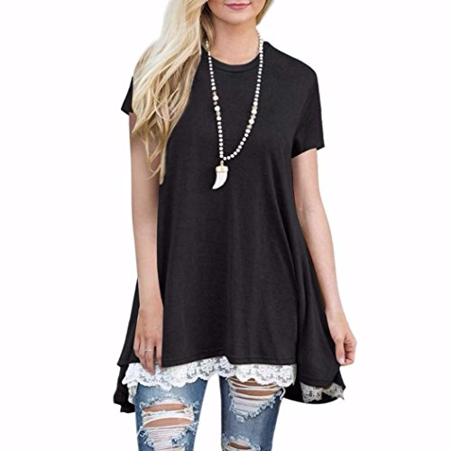 Clearance!! Women Shirt Dress Short Sleeve,Lelili Fashion Lace Patchwork Crewneck Pleat Swing Blouse Tops Sweatshirt (L, - Short Jumper Christmas Sleeve