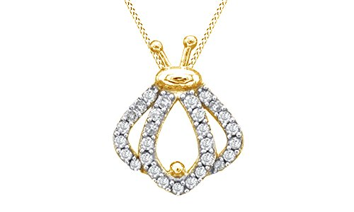 (Jewel Zone US Natural Diamond Ladybug Silhouette Pendant Necklace in 14k Yellow Gold Over Sterling Silver (1/5 Ct))