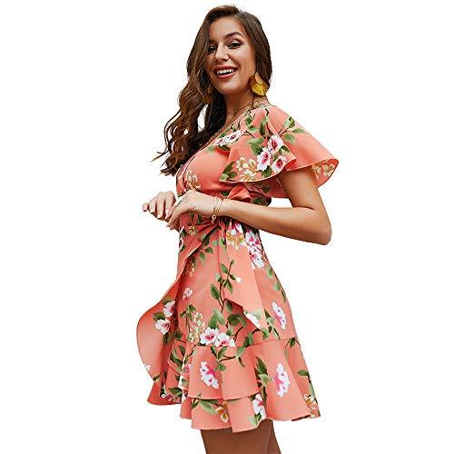Exlura Women's Summer Bohemian Floral Printed Wrap V Neck Short Sleeve Ruffle Mini Dress Peach ()