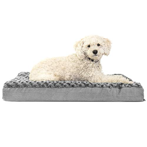 Furhaven Pet Dog Bed | Deluxe Orthopedic Mat Ultra Plush Faux Fur Traditional Foam Mattress Pet Bed w/ Removable Cover for Dogs & Cats, Gray, Medium