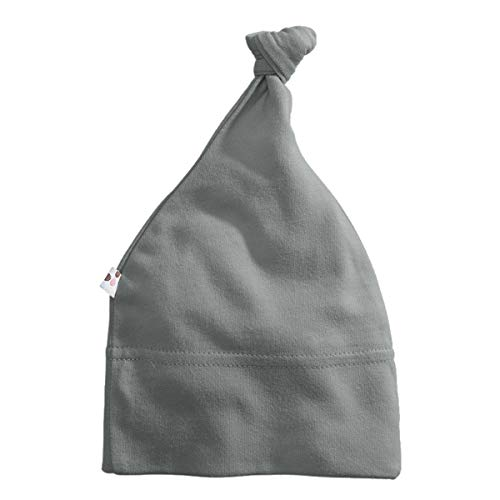 Babysoy Modern Single Knot Hat Beanie - Cotton Rayon from Bamboo Baby Cap (0-6 Months, Thunder)