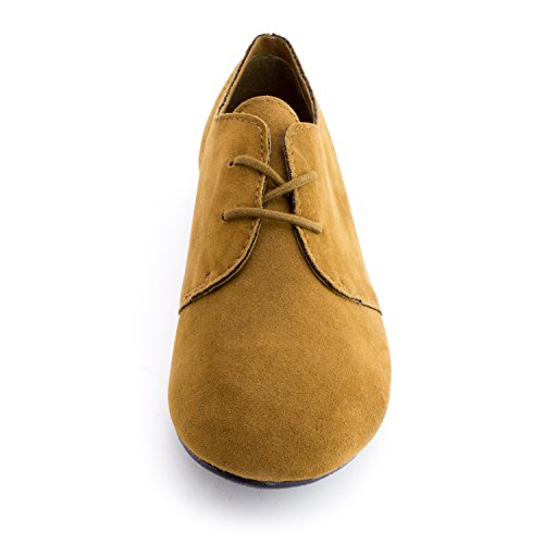 Oxford Womens Faux Lace Suede Adults Up Shoes Flat Walnut qpranpw