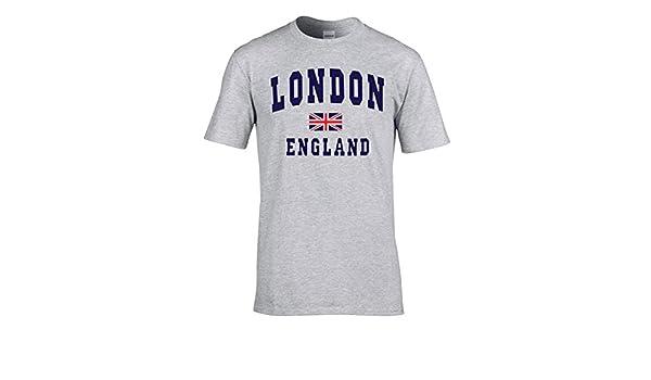 AA De Londres de selección de fútbol de Inglaterra T-Camisa con H-Gris la Bandera del Reino Unido: Amazon.es: Ropa y accesorios