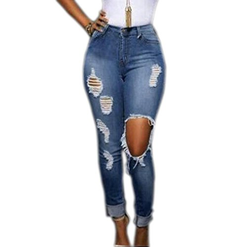 Ecurson Women Sexy Hole Pencil Pants High Waist Thin Elastic Pants Skinny Jeans (S)