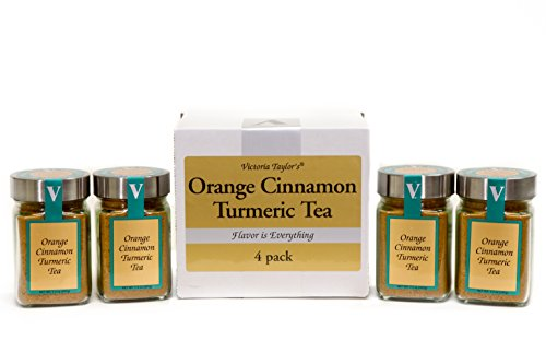 Orange Cinnamon Turmeric Tea - A DELICIOUS PART OF A HEALTHY ROUTINE! ONE SPOONFUL FOR A CUP OF TEA. Turmeric, Honey Granules, and Orange oil blend. 4 PACK! VICTORIA TAYLOR'S BY VICTORIA GOURMET. ()