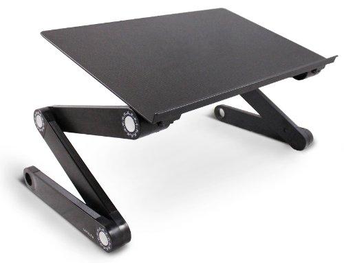 Lavolta Ergonomisch Notebook Laptop Ständer Tisch Bett Frühstück Tablett - Ausklappbare Ebenen - Aluminium - Schwarz