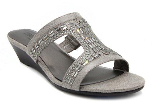 London Fog Carol Dress Wedge Sandals Silver 7 M US