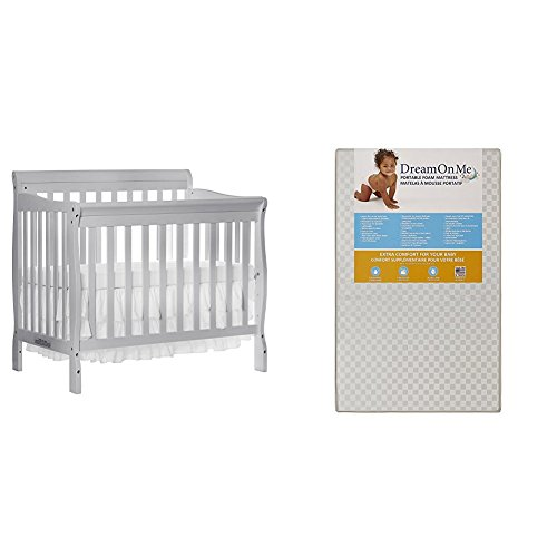 Dream On Me 4 in 1 Aden Convertible Mini Crib with Dream On Me 3 Portable Crib Mattress, White