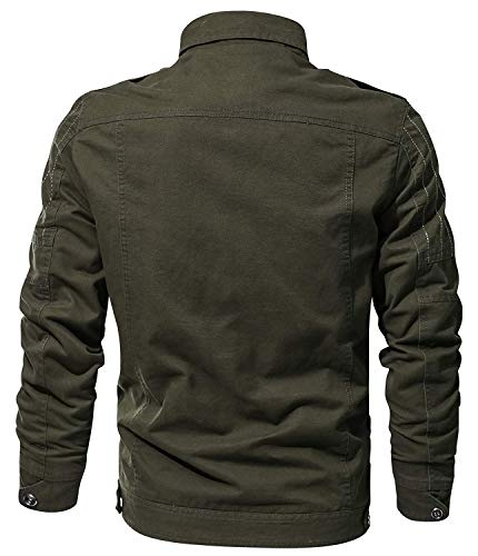 Cotone Tempo Bomber Libero A Uomo Lunghe Da Classico Autunno grün Stile Giacca Coat In Maniche 2 qOWY1nvP