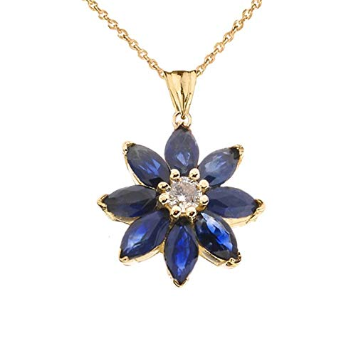 Exotic 14k Yellow Gold Daisy Diamond and Sapphire Flower Pendant Necklace, - Daisy Diamond Gold Necklace