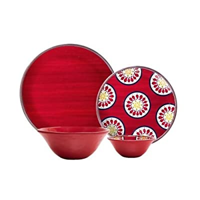 Melamine Dinnerware 16-Piece Set (Red) - Heavy Weight with the look and feel of ceramic, Not recommended for microwave use 4 Dinner Plates - 11in. Diameter 4 Salad Plates - 8 5/8in. Diameter - kitchen-tabletop, kitchen-dining-room, dinnerware-sets - 41jsIYN23CL. SS400  -