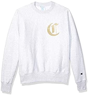 Champion LIFE Men's Reverse Weave Sweatshirt, gfs Silver Grey w/Old English Lettering, X Small