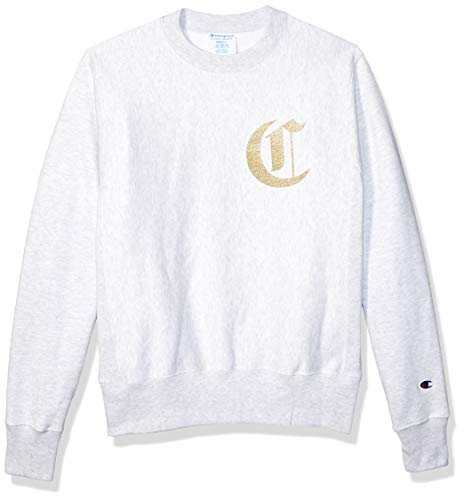 Champion LIFE Men's Reverse Weave Sweatshirt, gfs Silver Grey w/Old English Lettering, Large