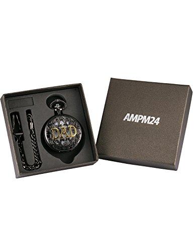 AMPM24 Women Men's Dad Black Dangle Pendant Pocket Quartz Watch Gift + Chain WPK051 by KS (Image #5)