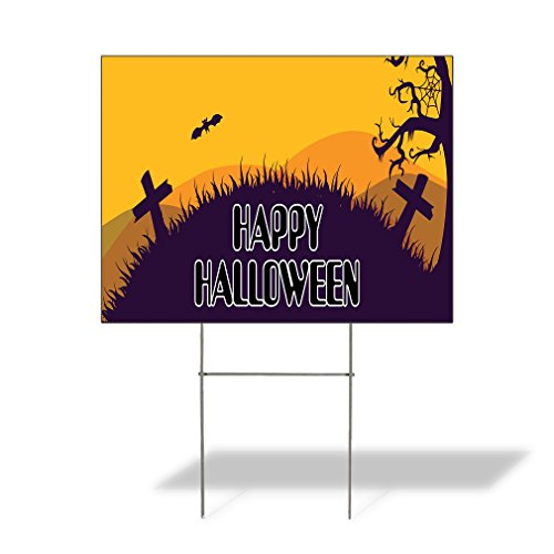 Plastic Weatherproof Yard Sign Happy Halloween #1 Style B Crosses and Creepy Tree Events Orange Cemetery Cross for Sale Sign Multiple Quantities Available 18inx12in One Side Print One Sign]()