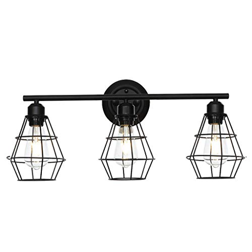 - Islandse3-Light Industrial Bathroom Vanity Light Metal Wire Cage Wall Sconce Wall Lamp Black