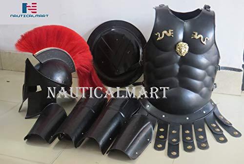 NauticalMart Medieval Roman King Leonidas 300 Spartan Helmet W/Red Plume + Muscle Armor + Shield + Leg Or Arm Guard