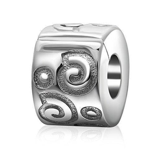 Clip Lock Stopper Charm Authentic 925 Sterling Silver Shiny Silver Clips Spacer Bead for 3mm Charms Bracelet (Ripple) (Lock Silver 925)