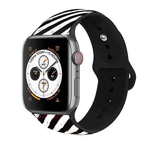 Inozama Compatible with Apple Watch Band, Soft Silicone Sporty Replacement Wrist Strap Band for iWatch Series 4/3/2/1 (38MM/40MM Black/White ()