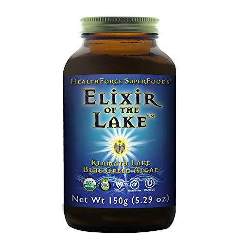 HealthForce SuperFoods Elixir of The Lake Powder - 150 Grams - Klamath Lake Blue Green Algae Supplement, Supports Endorphin Production & Mood - Organic, Vegan, Gluten Free - 75 Servings