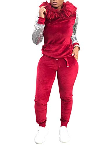 (Women's Velour 2 Piece Outfit Sequin Long Sleeve Woollen Hooded Hoodie and Pants Set Sweatsuit Red Large)