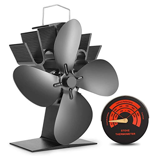 Sumapner 4 Blade Stove Fan - Quiet, Heat Powered Wood/Log Burner Fan - Eco Friendly Heat Circulation for Fireplaces +Stove Thermometer