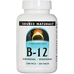 Source Naturals Vitamin B-12 Sublingual 2000 Mcg, Involved in Energy Production, Brain and Nerve Health, 200 Tablets
