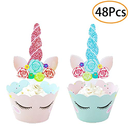 48 Set Unicorn Birthday Party Supplies Double Sided Cake Cupcake Toppers Unicorn Horn Cake Decoration Kit for Girl's Birthday, Baby Shower and Wedding ()