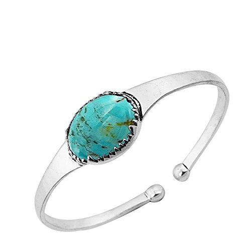 (14.50ct, Genuine Turquoise & 925 Silver Plated)