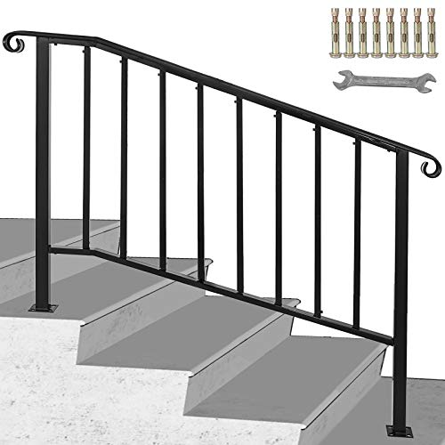 Happybuy Handrail Picket #3 Fits 3 or 4 Steps Matte Black Stair Rail Wrought Iron Handrail with Installation Kit Hand Rails for Outdoor Steps
