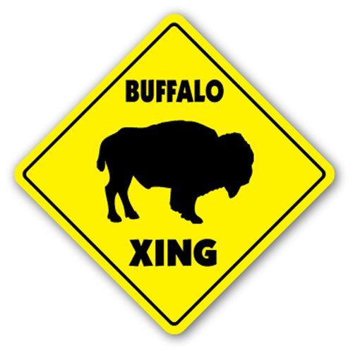 BUFFALO CROSSING Sign novelty gift animals farm Wall Plaque Decoration SignJoker