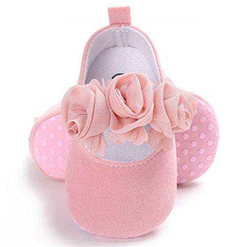 BENHERO Baby Infant Girls Soft Sole Floral Princess Mary Jane Shoes Prewalker Wedding Dress Shoes (6-12 Months Infant),Pink