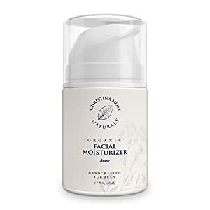 Facial Moisturizer, Organic and Natural Face Moisturizing Cream for Sensitive, Oily or Severely Dry Skin - Anti-Aging and Anti-Wrinkle, for Women and Men. By Christina Moss Naturals.