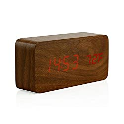 Oct17 Wooden Digital Alarm Clock, Wood Fashion Multi-Function LED Alarm Clock with USB Power Supply, Voice Control, Thermometer - Brown