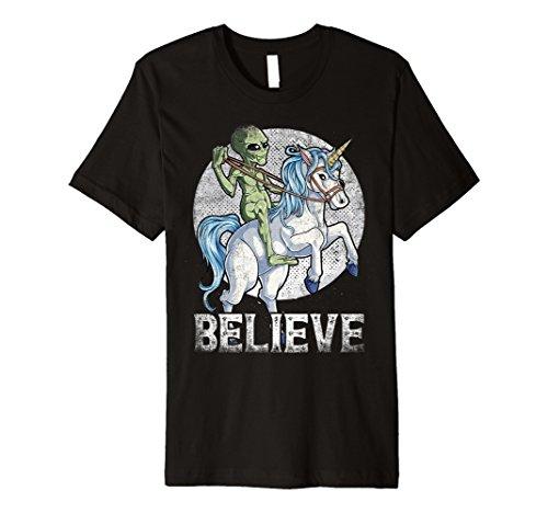 Alien Riding Unicorn Believe T shirt UFO Boys Kids Men Gift ()