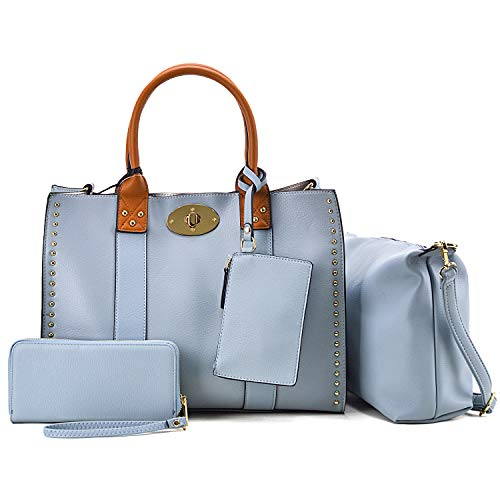 (Women Large Tote Purses and Handbags 4PCs Stud Top Handle Satchel Shoulder Bag for Women Light Blue)