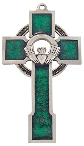 Pewter with Green Shamrock Epoxy Claddagh Design Celtic Wall Cross, 5 Inch