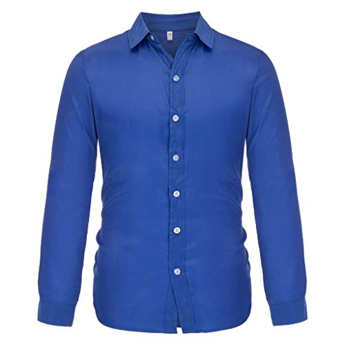 (MIS1950s Men's Casual Button Down Hemp Long Sleeve Baggy Shirt Solid Quick Dry Top Blouse Fashion)