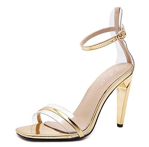 Aisun Damen Transparent Offene Zehen Knöchelriemchen Stiletto Abendschuhe Sandale mit Schnalle Gold