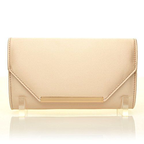Gold Medium PIXIE PIXIE Satin Champagne Champagne Clutch Size Gold Bag xBSwqBOP