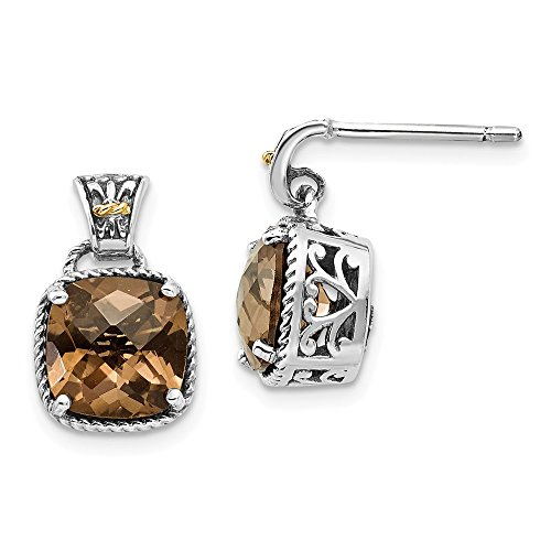 - 925 Sterling Silver 14k Smoky Quartz Post Stud Earrings Drop Dangle Fine Jewelry Gifts For Women For Her