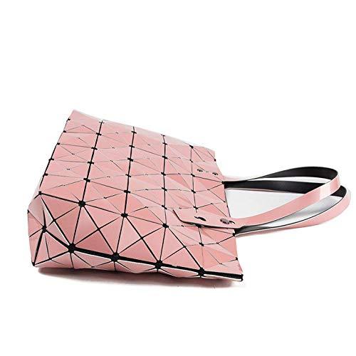 Women Fashion Shoulder Cute Lattice For Viola Pu argento Bag Leather onesize Totes Geometric Womens Laidaye w0yIEq4q